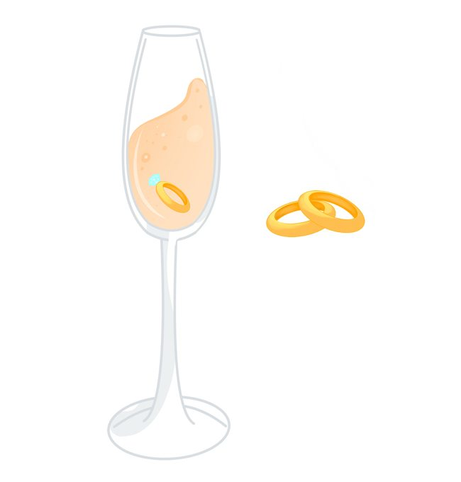 Champagne and wedding rings