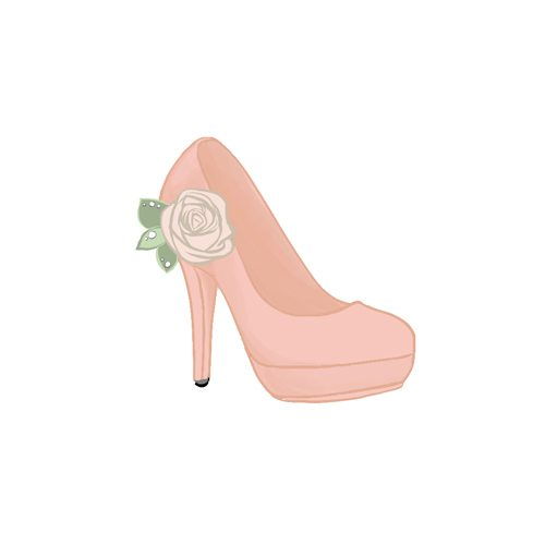 Pink high heeled shoe illustration