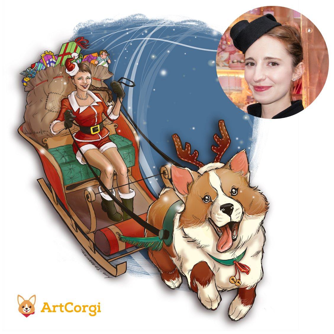 Christmas Simone and ArtCorgi Corgi with Santas Sleigh Before and After by TheMeeDes via ArtCorgi