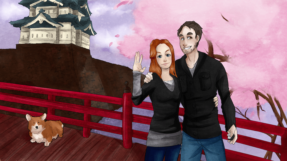 Couple Portrait at Hirosaki Castle by AruRmz via ArtCorgi