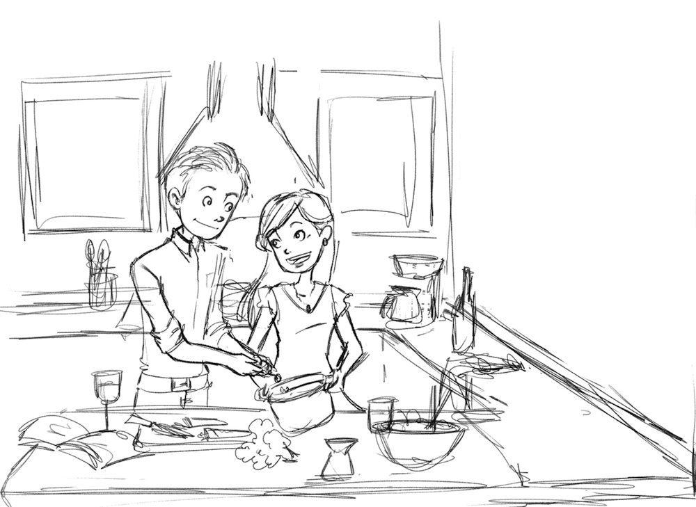 DRAFT - Portrait of Jay and David Cooking Dinner by Chiara Bertelli
