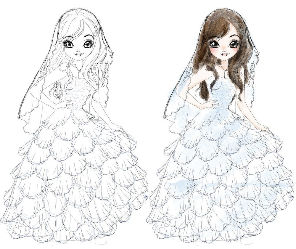 Draft Cartoon Fashion Portrait of a Bride by Elisa Moriconi