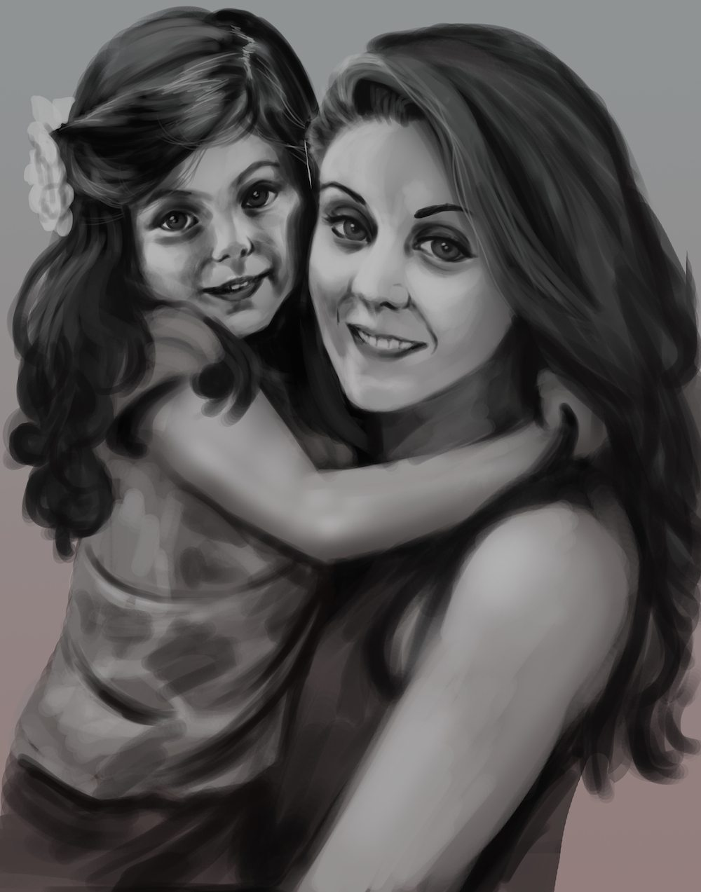 Draft Portrait of Mother and Daughter by Skobey1kanoby
