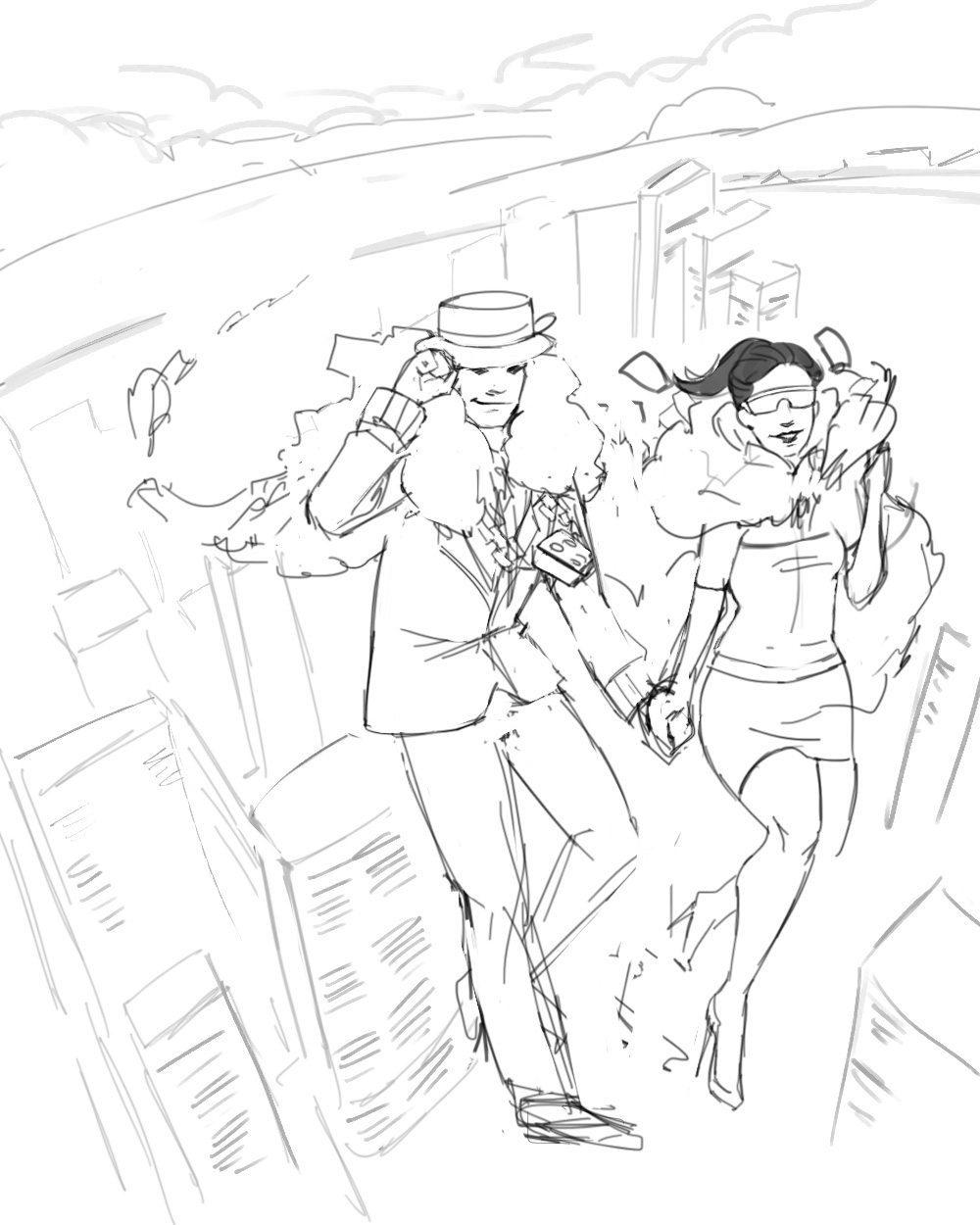 Draft Portrait of Simoney and Cashley via ArtCorgi