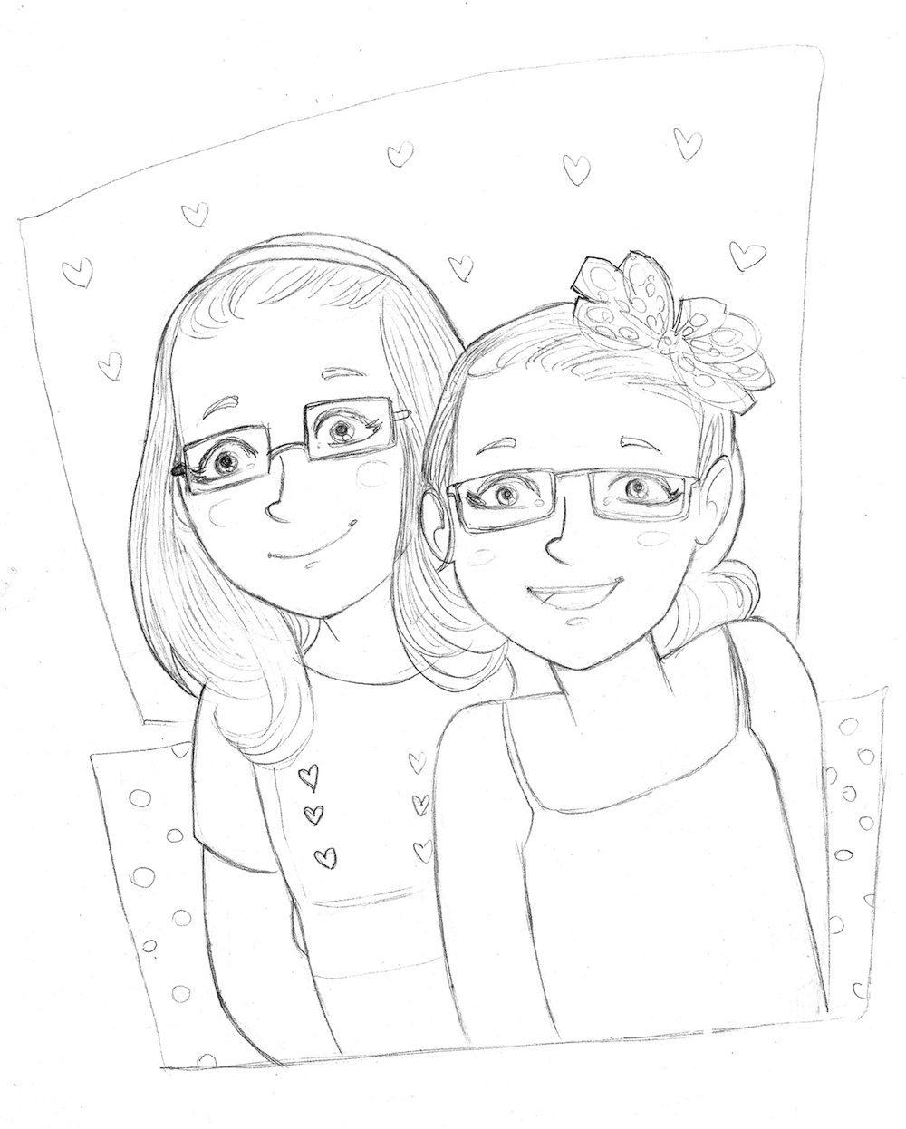 Draft Portrait of Two Sisters by Orgueil via ArtCorgi
