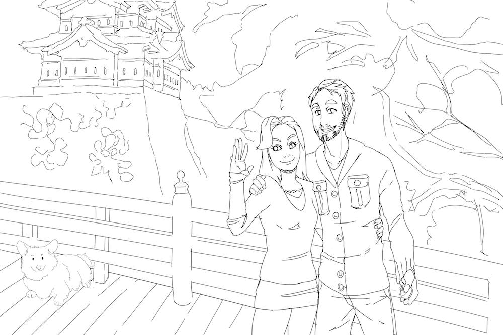Draft Portrait of a Couple in Japan by AruRmz