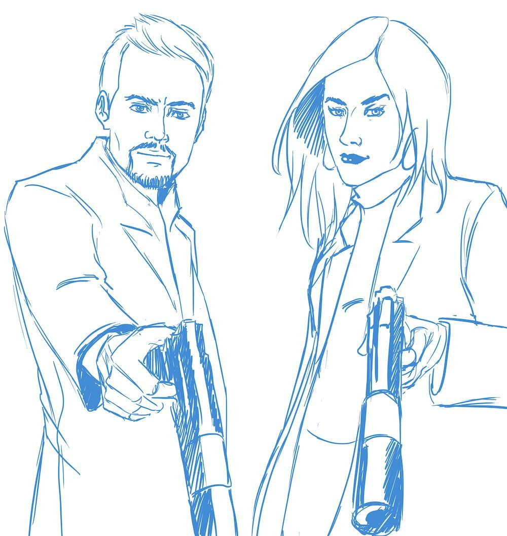 Draft Portrait of a Couple with Guns by Blacksmiley