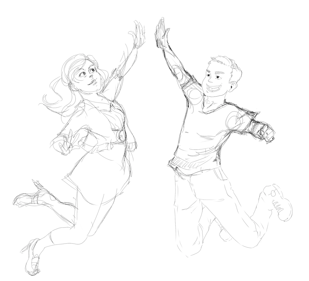Draft of Jay and David High Fiving by AruRmz