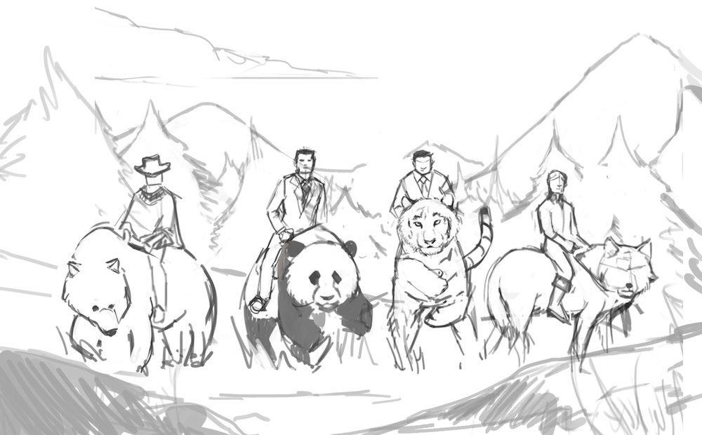 Draft of Men Riding Spirit Animals by Andy Lamarca