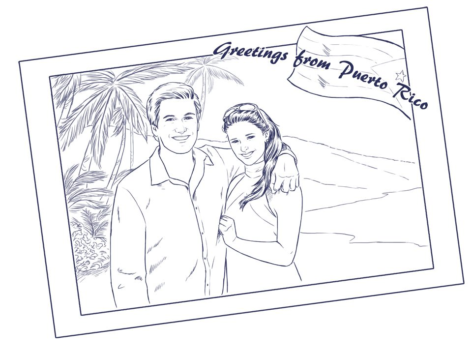 Draft of Puerto Rico Postcard Couple Portrait by Crespella