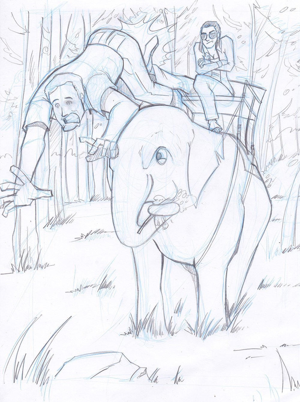 Draft of a Couple Riding an Elephant by Silvadoray