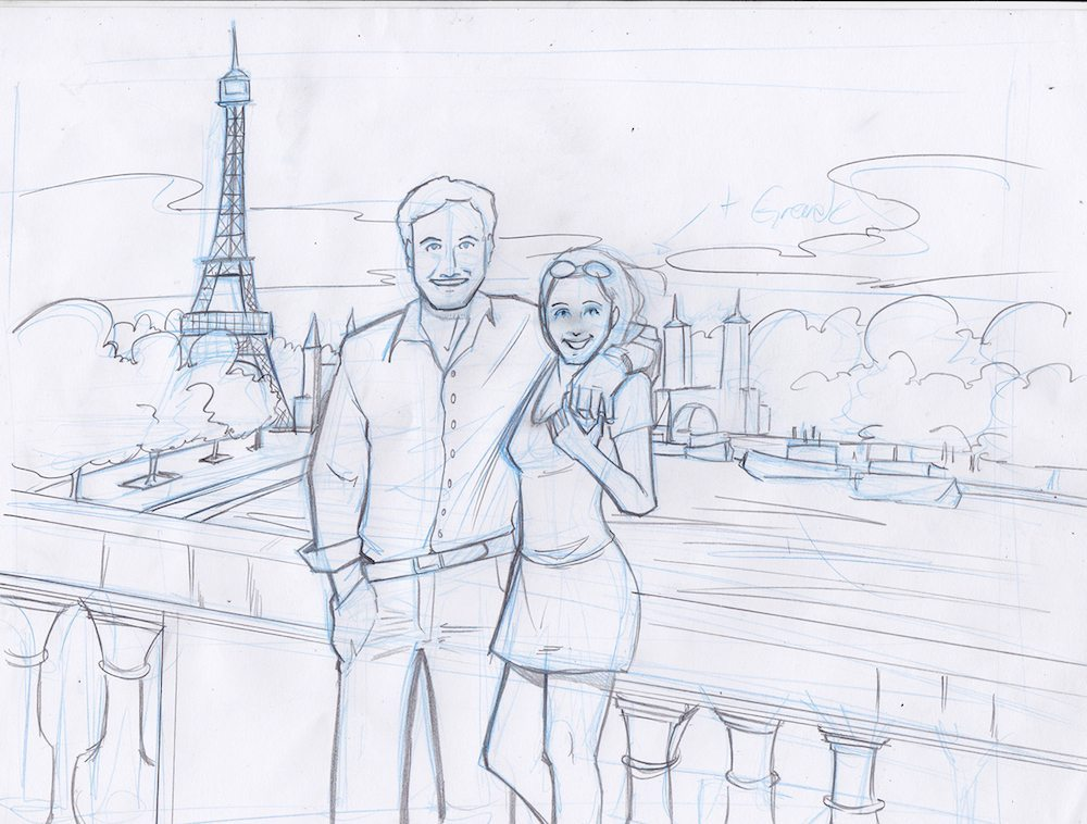 Draft of a Couple in Paris by Silvadoray