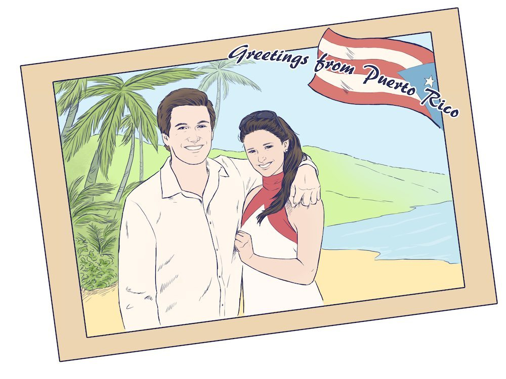 Greetings from Puerto Rico Couple Portrait by Crespella via ArtCorgi
