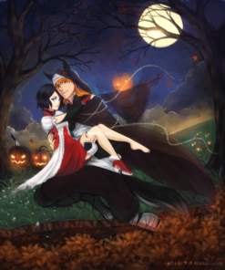 Halloween Portrait of a Couple by the Full Moon by Lucia Garcia