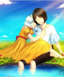 Howl and sophie from Howl's moving castle napping by the lake of stars by Lucia Garcia
