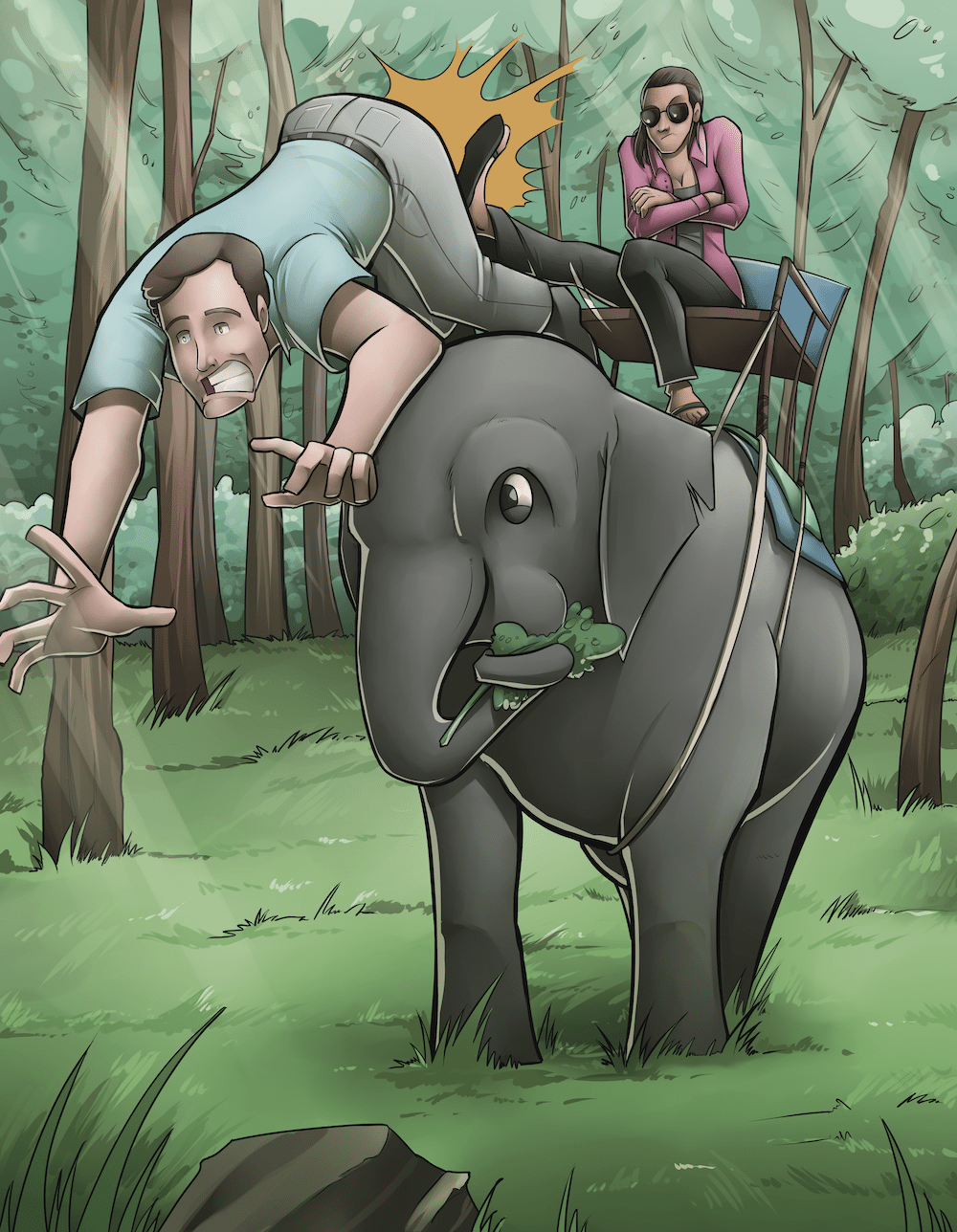 James and Jacqueline riding the elephant by Silvadoray via ArtCorgi.png