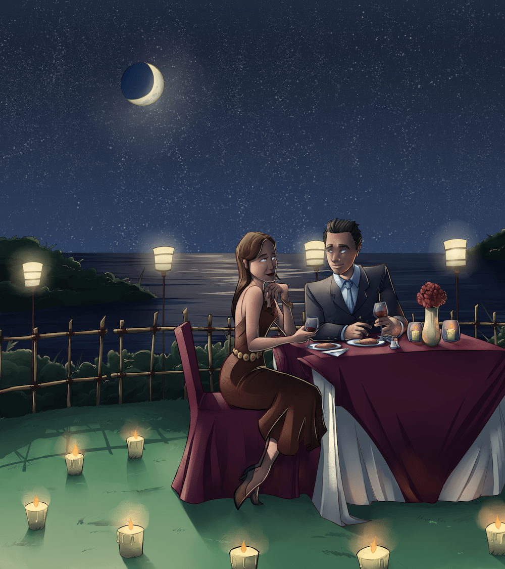 Jay and David having a Romantic Dinner - Illustration by Silvadoray via ArtCorgi