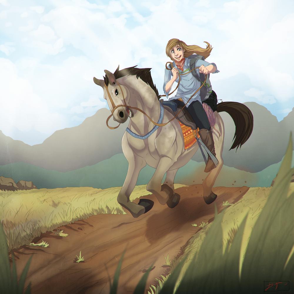 Katherine at the Mongol Derby by Denitsa Trandeva via ArtCorgi