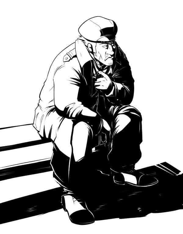 custom black and white illustrations by silvadoray 1973 Olds 98 Wagon man on a bench by silvadoray