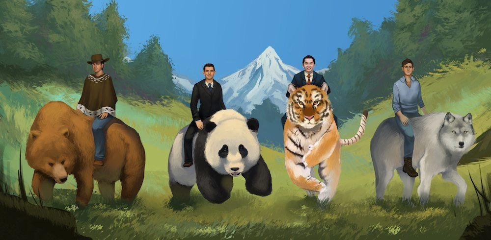 Men Riding Spirit Animals by Andy Lamarca via ArtCorgi