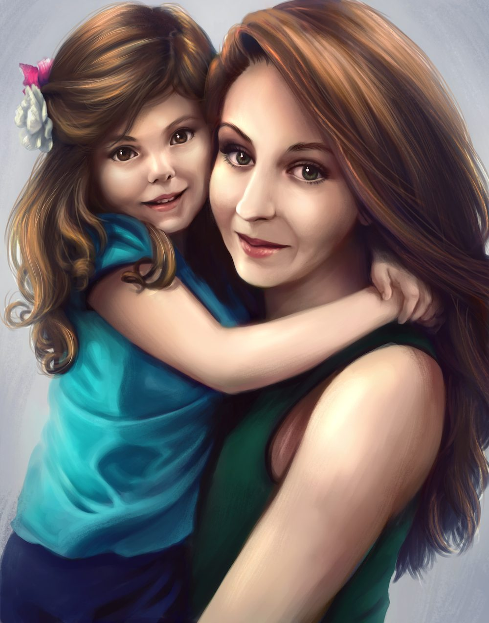 Mother Daughter Portrait by Shobey1kanoby via ArtCorgi