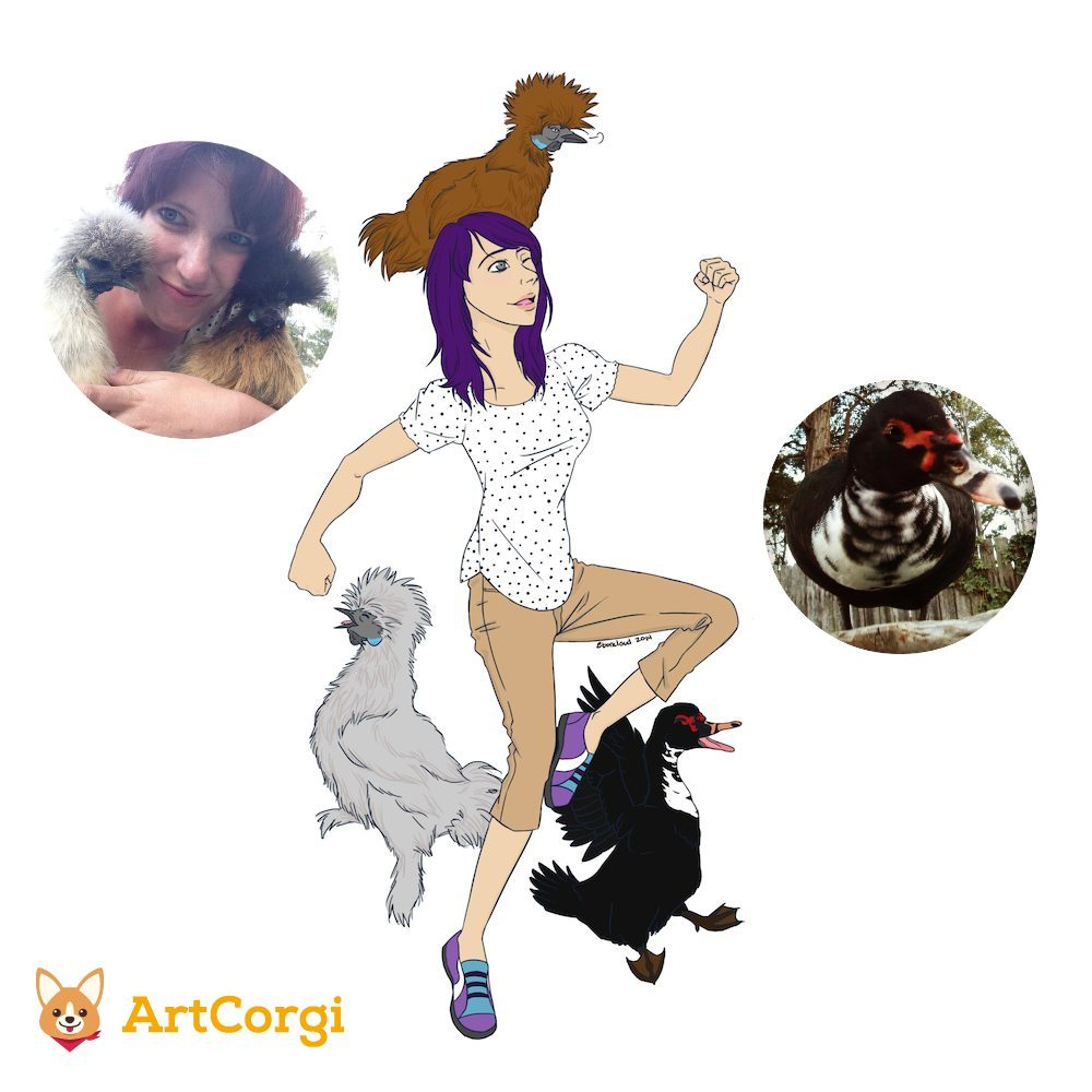 Portrait of a Girl wtih Chickens and a Duck Before and After by Eboncloud via ArtCorgi