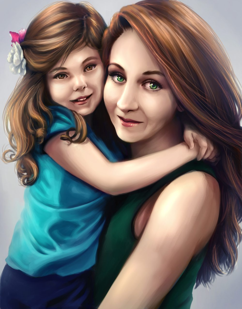 Portrait of a Mother and Daughter by Shobey1kanoby via ArtCorgi