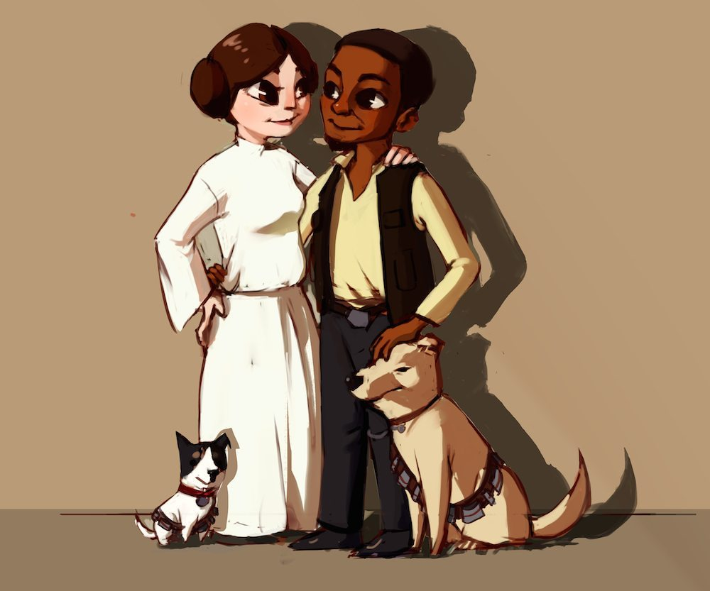 Portrait of the Star Wars Couple and Their Dogs by Mourphine via ArtCorgi