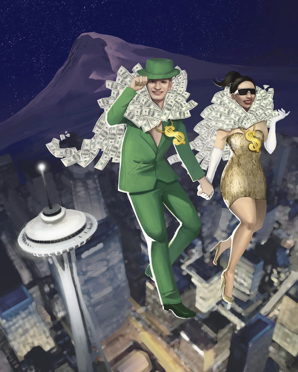 Simoney and Cashley Flying over Seattle by Andy Lamarca via ArtCorgi