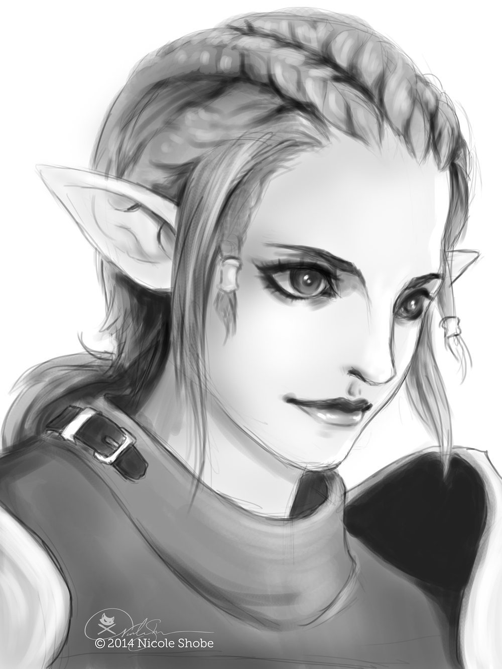 Sketch Character Portrait of an Elf by Shobey1kanoby