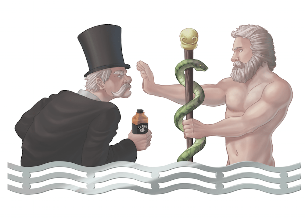 The Greek God and the Snake Oil Salesman by Lorenzo Sabia via ArtCorgi
