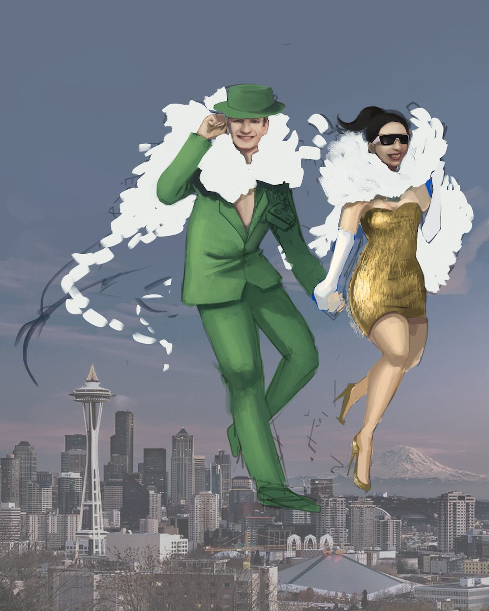WIP Draft of Simoney and Cashley over Seattle by Andy Lamarca