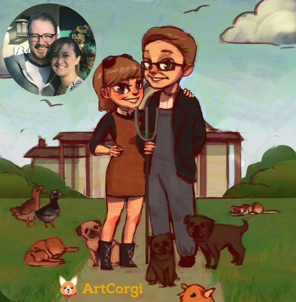 American Gothic Inspired Portrait Before and After by Mourphine via ArtCorgi