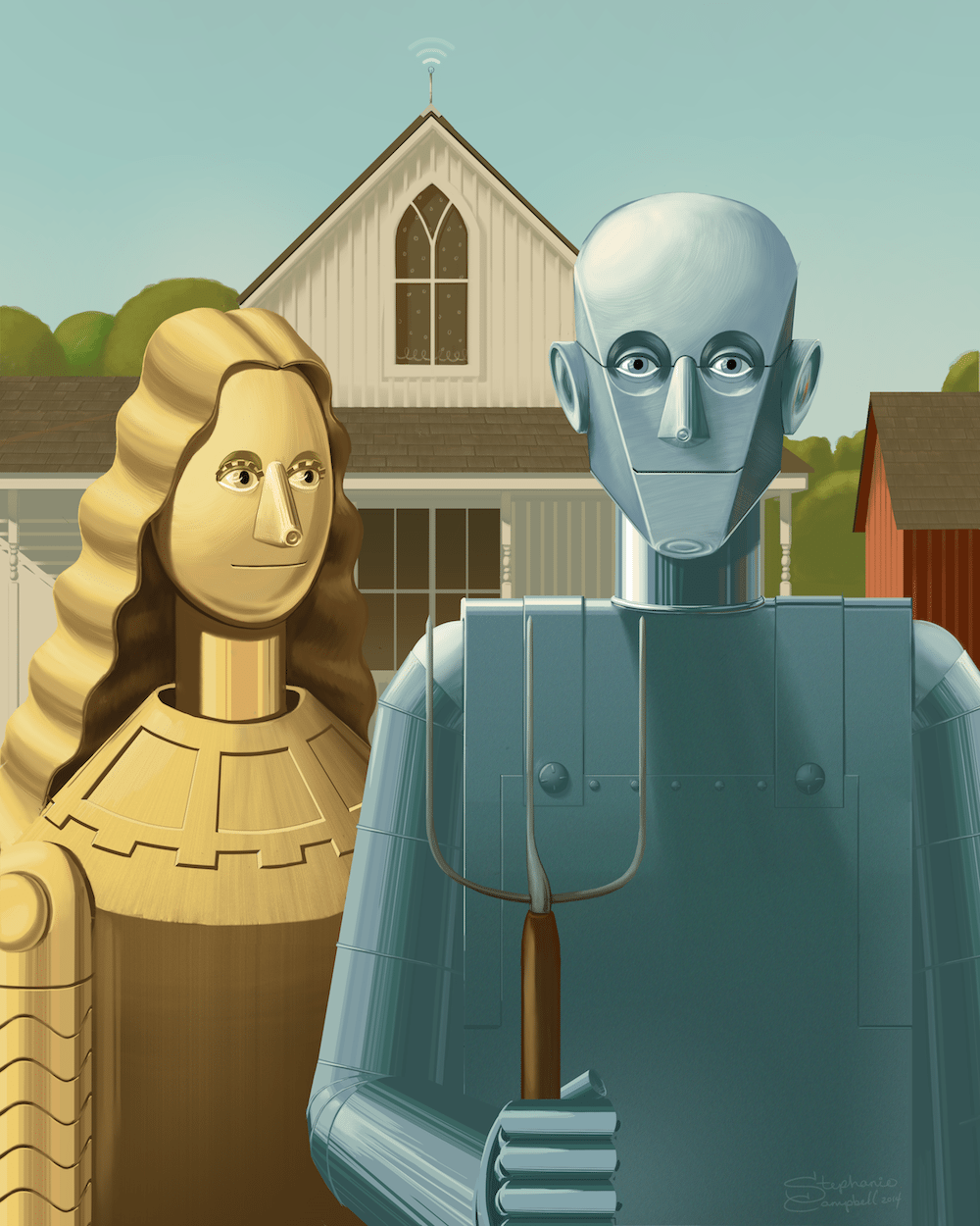 American Gothic Robots by Stephanie Campbell via ArtCorgi