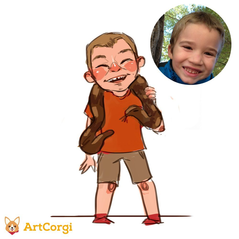 Cartoon Portrait of a Boy with a Snake Before and After by Mourphine via ArtCorgi