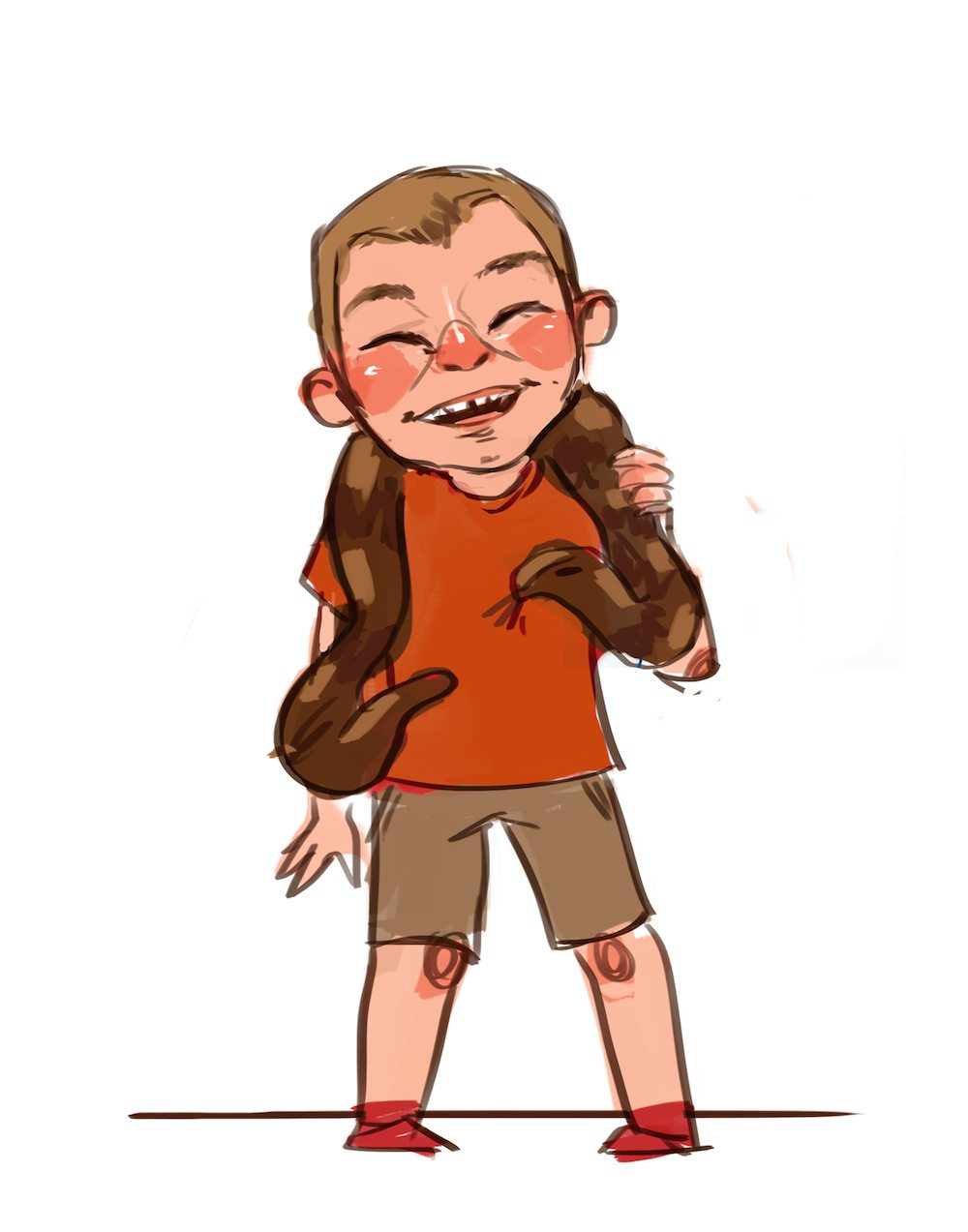 Cartoon Portrait of a Boy with a Snake by Mourphine via ArtCorgi