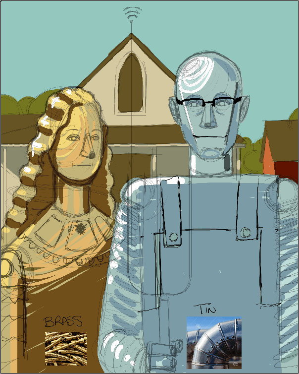 Colored American Gothic Robots Draft by Stephanie Campbell