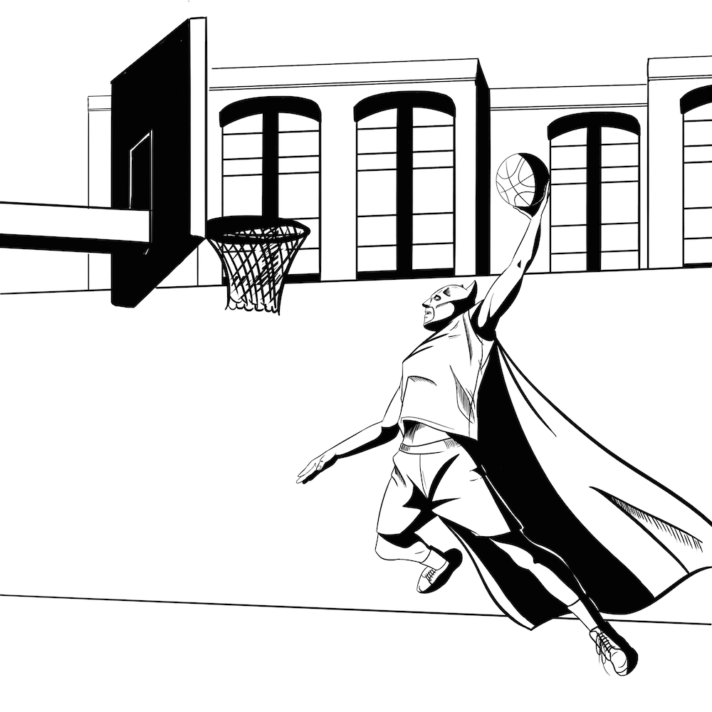 Comic Illustration of Basketball Batman by Blacksmiley via ArtCorgi