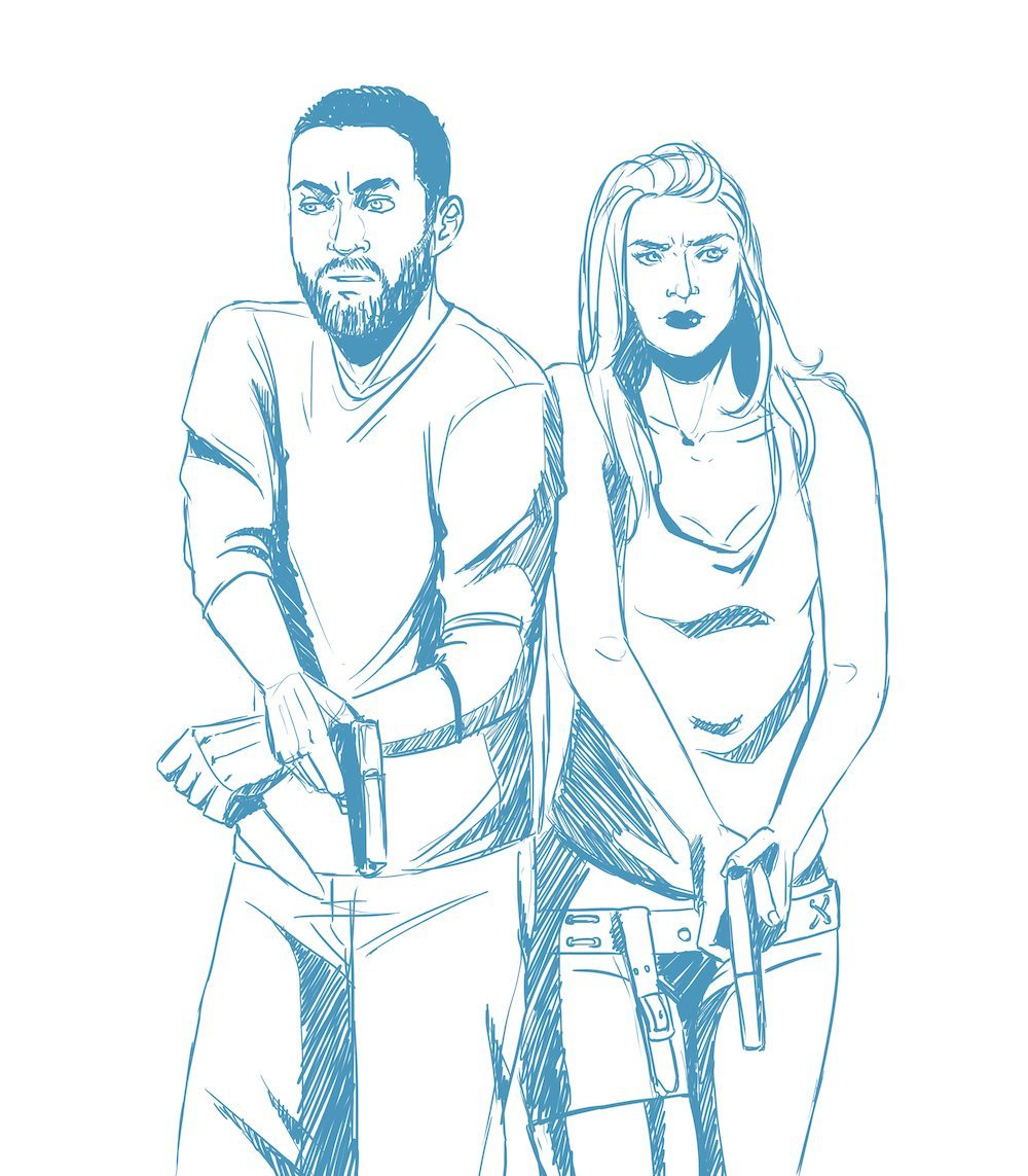 Draft Comic Portrait of a Couple wtih Guns by Blacksmiley