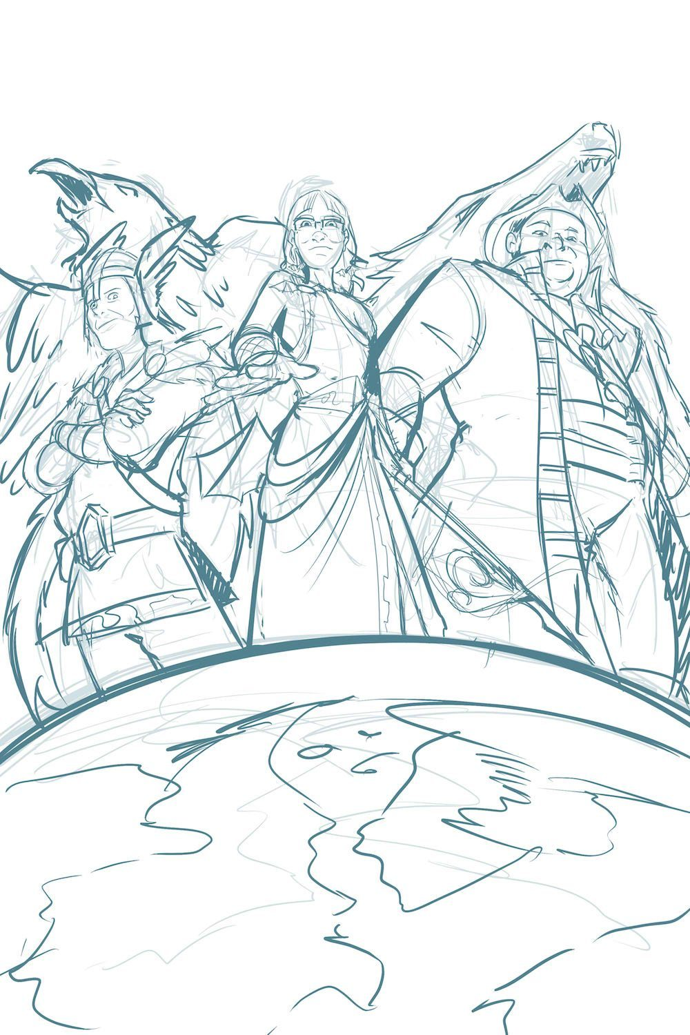 Draft Illustration of Gods Looking at Earth by Silvadoray