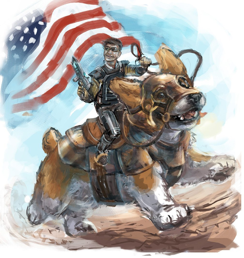 Draft Portrait of a Man Riding a Corgi Into War by Feralkith