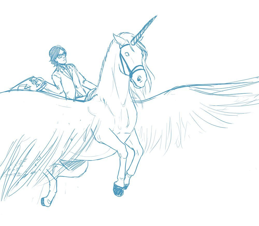Draft of Jarvis Cocker Riding a Unicorn by Blacksmiley