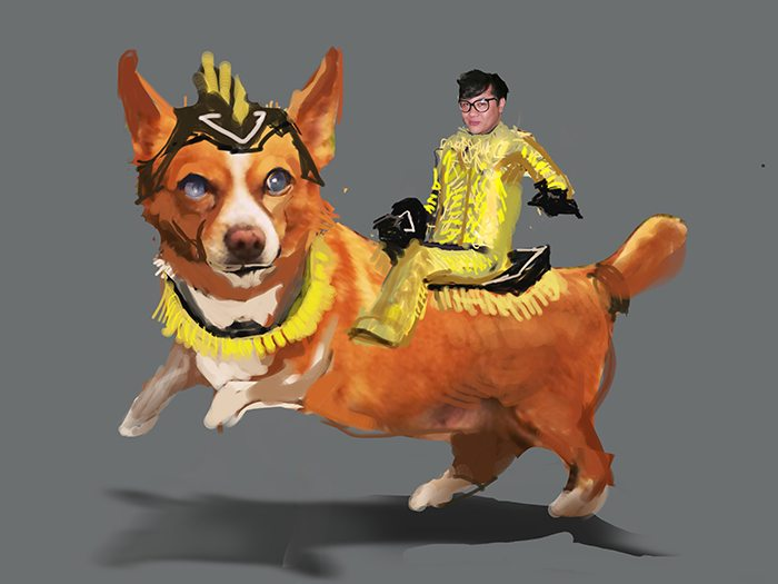 Draft of Man Riding a Corgi by Bloodyman88