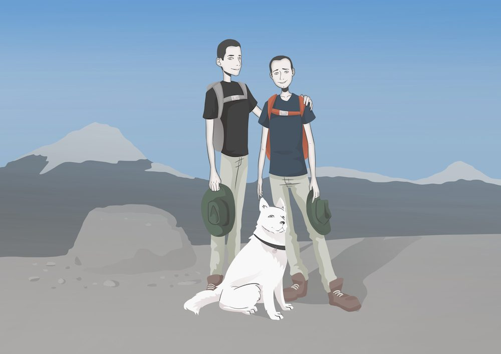 Illustrated Family Hiking Portrait by Blacksmiley via ArtCorgi