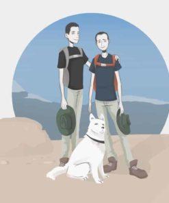 Illustrated Stylized Family Hiking Portrait by Blacksmiley via ArtCorgi