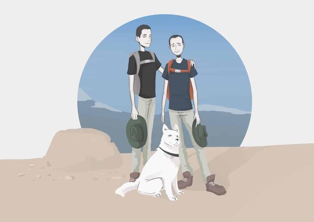 Illustrated Stylized Family Hiking Portrait by Blacksmiley via ArtCorgi