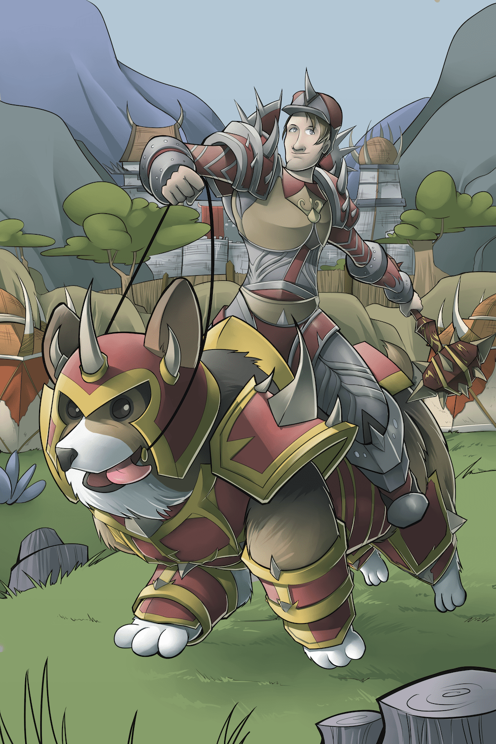 Illustration of a Man Riding a Corgi Morgikaiser by Silvadoray via ArtCorgi