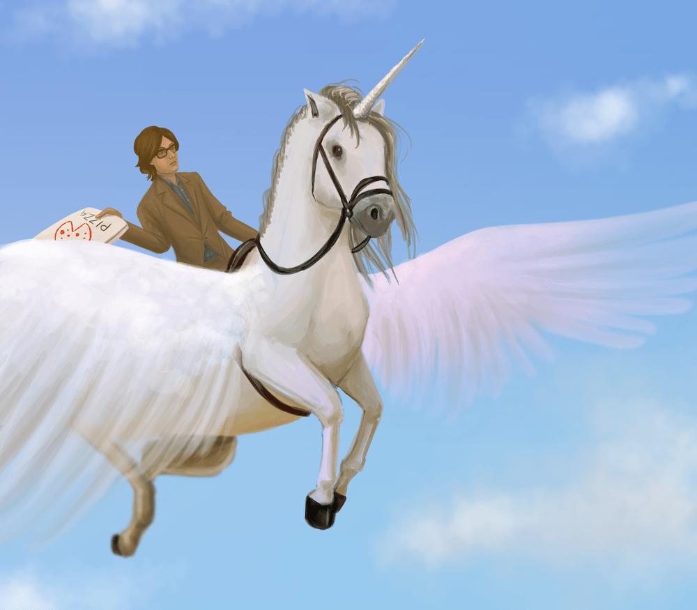 Jarvis Cocker riding a unicorn by Blacksmiley via ArtCorgi