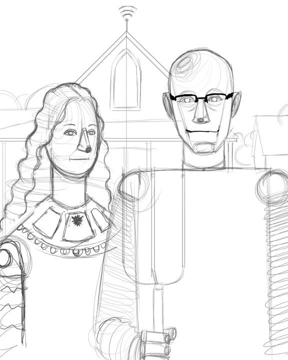Lineart American Gothic Robots Draft by Stephanie Campbell