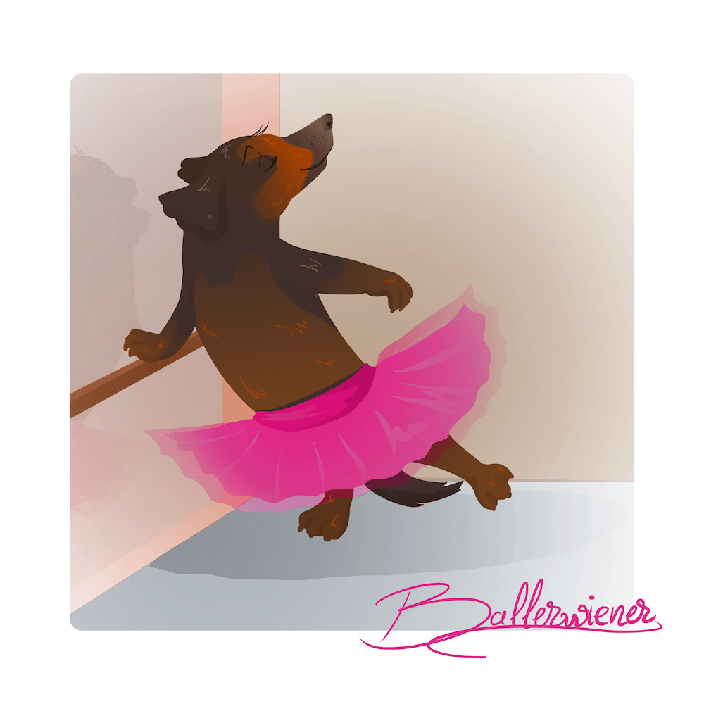 Pet Portrait of the Ballerwiener by Blacksmiley via ArtCorgi